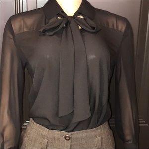 Bisou Bisou Black Bow Tie Blouse button down
